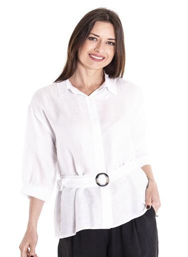 Stamina Beli Kemerli Uzun Kollu Gömlek Beyaz